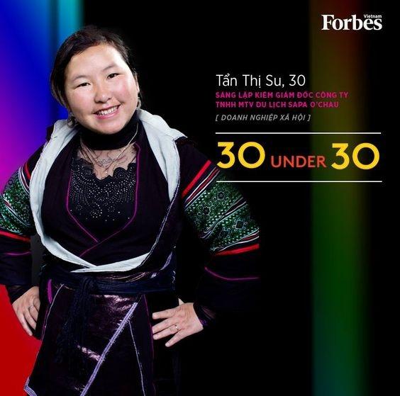 Hình ảnh của chị Tẩn Thị Su trên trang Forbes Vietnam. (Ảnh: Internet)