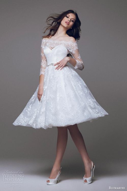 Váy cưới ngắn tôn lên nét đẹp thanh lịch và giản dị của người phụ nữ. (Ảnh: Internet)