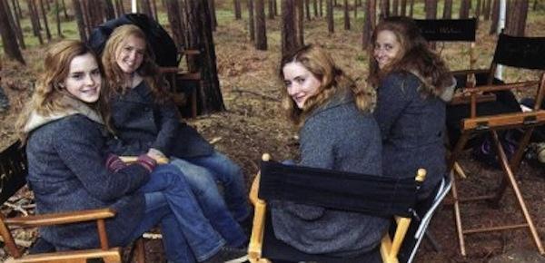 Emma Watson (góc trái bên dưới) & 3 diễn viên đóng thế, Harry Potter and the Deathly Hallows - Part 1