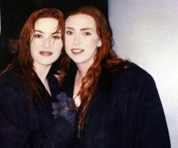 Kate Winslet (trái) cùng diễn viên đóng thế, Titanic