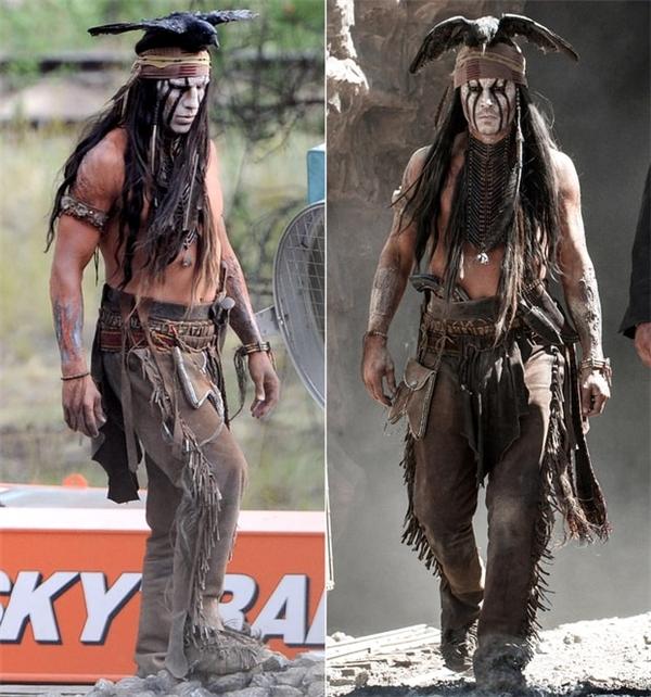 Johnny Depp (phải) và diễn viên đóng thế, The Lone Ranger