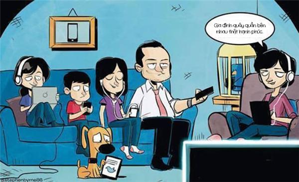 Gia đình hạnh phúc đúng chuẩn thời đại, cả cún cưng cũng có máy tính bảng nhé. (Ảnh: Internet)