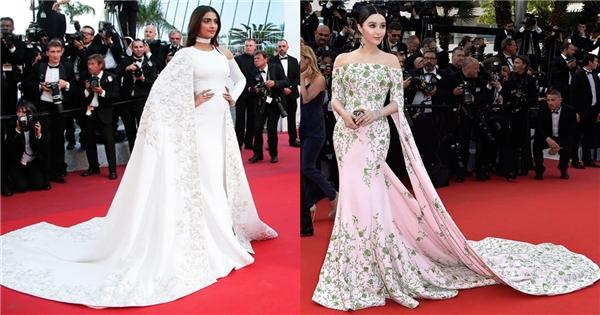 """Một cái tên đáng chú ý đến từ châu Á là nữ diễn viên Sonam Kapoor (Ấn Độ). Trong ngày """"ra quân"""" tại Cannes 2016, mĩ nhân này diện bộ váy có nét tương đồng thiết kế mà Phạm Băng Băng từng mang đến trên thảm đỏ khai mạc sự kiện này năm ngoái."""