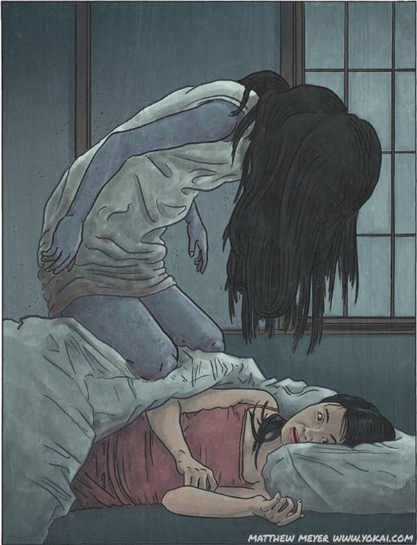 Bóng đè là doKanashibari, một linh hồn chuyênchờ chựcvà sẵn sàng ghì nạn nhân xuống giường khi đang ngủ.(Ảnh: Internet)