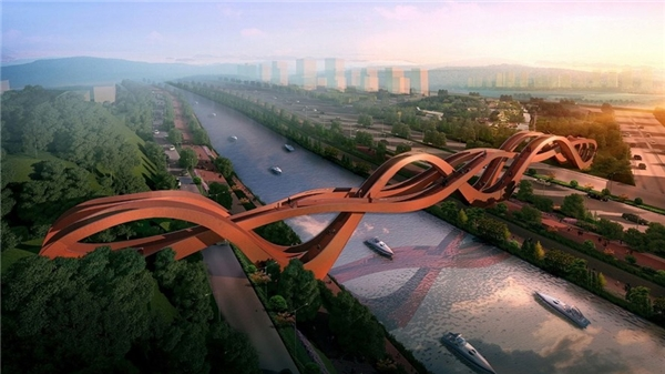 Cây cầu ấn tượngLucky Knot ở Trường Sa, tỉnh Hồ Nam (Trung Quốc) do kiến trúc sư NEXT Architects thiết kế. Cây cầu dự kiến sẽ được mở cửa vào cuối năm nay.