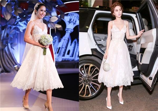 Trước đó, Ngọc Trinh từng diện bộ váy này trong buổi tiệc mừng ra mắt bộ sưu tập mới của Chung Thanh Phong. Với số đo 3 vòng nổi trội, Ngọc Trinh lấn át hoàn toàn người mẫu trên sàn diễn.