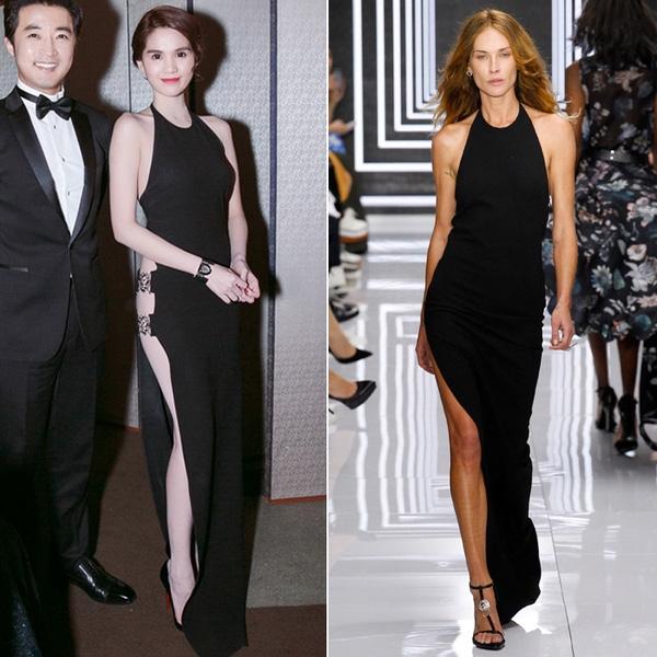 Số đo 3 vòng cực nóng bỏng cùng những đường cong cơ thể của Ngọc Trinh được phô diễn khéo léo trong dáng váy xẻ lường sâu hút của Versus (một dòng nhỏ hơn của thương hiệu Versace). Nhưng khi được giới thiệu trên sàn diễn trước đó, bộ váy không hề hấp dẫn như vậy bởi người mẫu quá gầy.