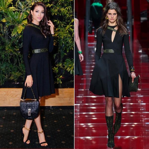 Nếu như người mẫu của Versace mang đến nét cá tính, mạnh mẽ thì Phạm Hương lại ngọt ngào, quyến rũ hơn khi thay đổi loạt phụ kiện đi kèm bộ váy xòe cắt xẻ.