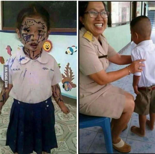 Cô giáo cũng muốn phạt cậu bé lắm, nhưng còn đang bận cười cho hết cơn đã.
