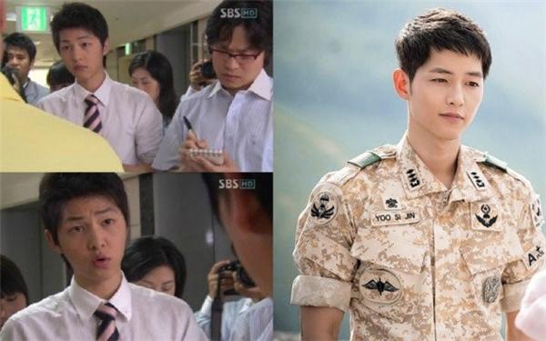 """Rất hiếm nghệ sĩ có thể thành công chỉ với một vai diễn đầu tay. Đa số các ngôi sao đều trưởng thành sau một thời gian thăng trầm với nghề, với những vai diễn bị cho """"vô danh"""" trên màn ảnh. Song Joong Ki tạo nên dấu ấn nhờ Sungkyunkwan Scandal, Nice Guy và mới nhất là Hậu duệ mặt trời. Nhưng ngay cả người hâm mộ của anh cũng quên mất việc thần tượng từng có thời gian vào vai phóng viên trong Get Karl Oh Soo Jung hợp tác với Uhm Jung Hwa, Oh Ji Ho. Trong bộ phim này, đất diễn của anh nhỏ đến mức, hình ảnh chỉ lướt qua màn hình."""