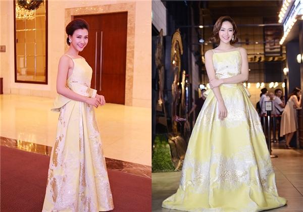 Minh Hằng và Á hậu Hoàng Oanh với thiết kế màu vàng bắt mắt của Phương My. Cả hai cùng chọn vẻ ngoài thanh lịch, ngọt ngào của phong cách cổ điển.