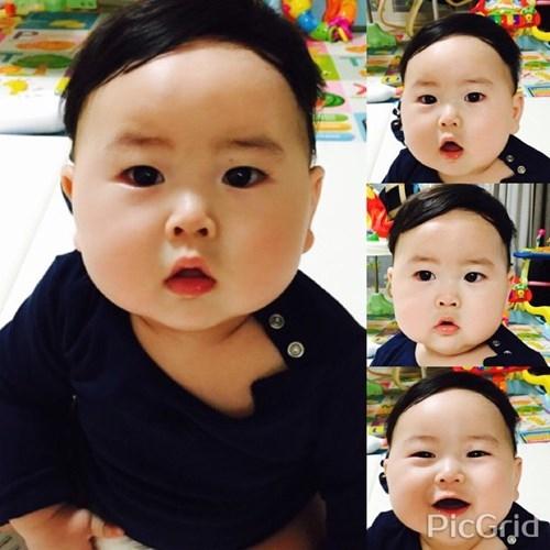 """Em bé sinh năm 2014 với vẻ ngoài bụ bẫm, hai má phúng phính đang làm """"điên đảo"""" dân mạng Hàn Quốc, Việt Nam và một vài quốc gia châu Á khác. Chỉ trong một thời gian ngắn, bé trai đáng yêu này trở thành một nhân vật rất """"hot"""", một hiện tượng trên mạng Instagram."""