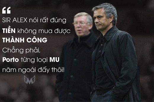 Mourinho châm chọc Sir Alex Ferguson khi bị huấn luyện viên lão luyện của MU mỉa mai về việc ông chủ Chelsea, Roman Abramovich vung tiền vào thị trường chuyển nhượng.