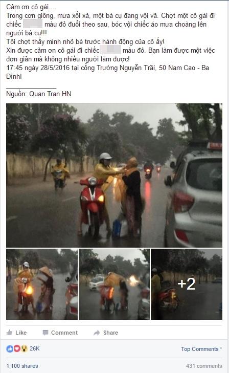 Ấm lòng trước hành động của cô gái Hà thành giữa trời mưa xối xả