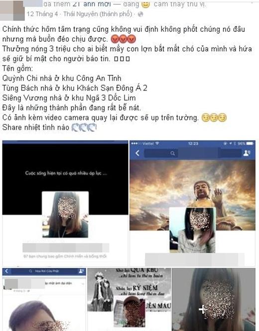 Bài viết từ tháng 4 nói rằng cô gái cùng nhóm bạn này đã ăn trộm chó. (Ảnh: Internet)