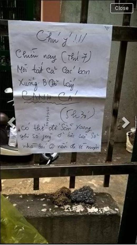 Bác chủ nhà còn cẩn thận dán giấy thông báo.(Ảnh: Internet)