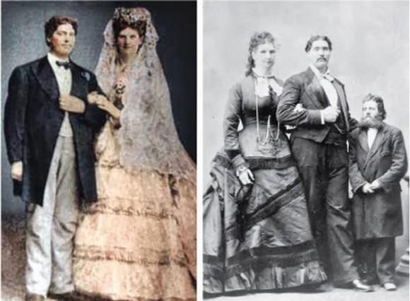 Anna Haining Swan, người phụ nữ cao 2,43m và chồng là Martin Van Buren Bates người cao 2,41 đã kết hôn vào năm 1871.