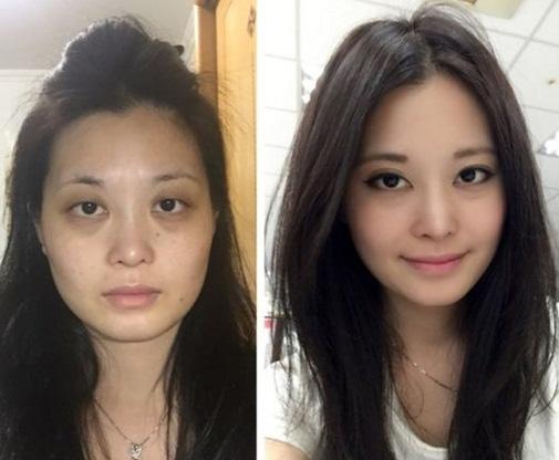 Ái Dung trước và sau khi trang điểm.(Ảnh: Internet)
