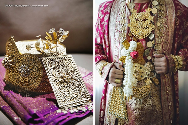 Lễ phục cầu kì theo phong cách truyền thống được giác vàng của cô dâu. (Ảnh: Internet)