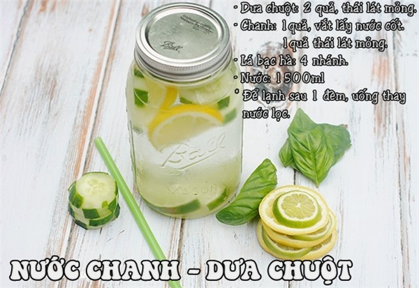Đồ uống này bạn có thể để qua đêm và sử dụng cả ngày thay nước lọc. Nó không chỉ giải độc mà còn tăng khả năng miễn dịch cho cơ thể đấy.
