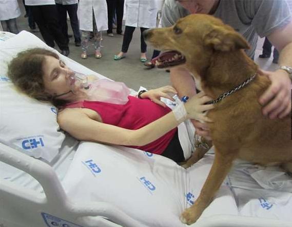 Côtrút hơi thở của mình khi đang vuốt ve chú chó yêu.