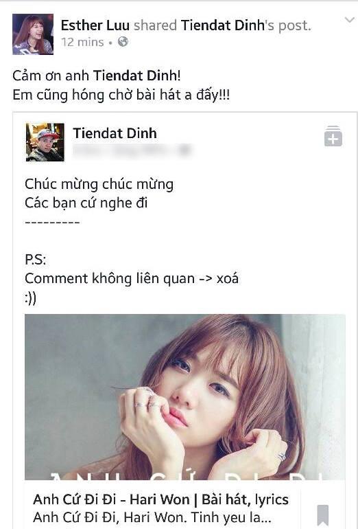 """Sau lời chúc mừng của bạn trai cũ, Hari Won đã dành lời cảm ơn cùng tin nhắn: """"Em cũng đang hóng chờ bài hát của anh đấy"""". - Tin sao Viet - Tin tuc sao Viet - Scandal sao Viet - Tin tuc cua Sao - Tin cua Sao"""