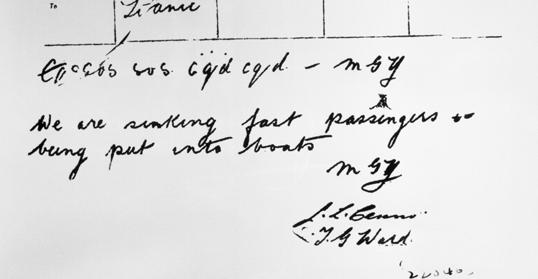 """Ngày 14/04/1912, Titanic đâm phải một tảng băng trôi và kéo theo 1.500 người chìm xuống Đại Tây Dương. Bức điện tín khẩn cấp lúc đó viết rằng, """"Chúng tôi đang chìm rất nhanh, hành khách đang được chuyển xuống xuồng cứu hộ."""""""