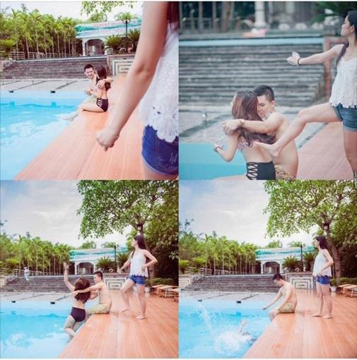 """""""Vợ anh đến rồi. Em hạnh phúc bên hồ bơi nhé!"""" (Ảnh: Internet)"""