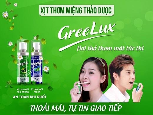 Xịt thơm miệng Greelux được bào chế từ các tinh chất thảo dược: Bạc hà, trà xanh, cúc hoa, lô hội, cam thảo…An toàn khi nuốt