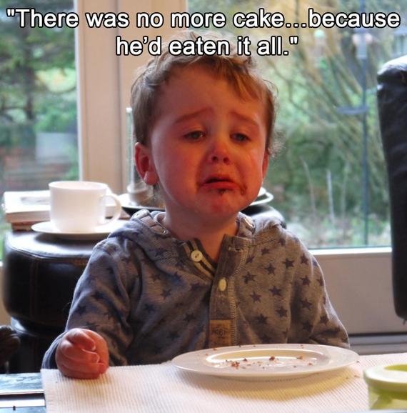Ăn hết bánh rồi, không còn bánh nữa để ăn.
