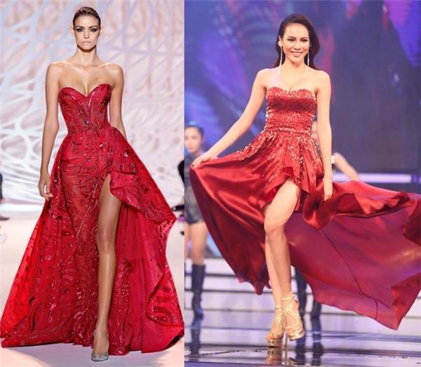 Cùng catwalk trên sân khấu với Lan Khuê, Lệ Quyên diện thiết kế màu đỏ rượu gợi cảm bởi phần cúp ngực, xẻ tà sâu hút. Tuy nhiên, bộ váy nhanh chóng bị phát hiện trông khá giống của nhà mốt Zuhaird Murad.