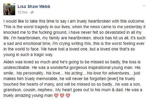 Những lời chia sẻ của Lisa Webb sau khi nhận được rất nhiều thư chia buồn từ mọi người
