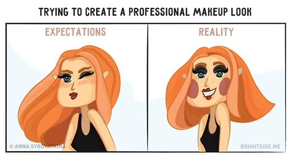 Makeup tạo khối thì đẹp thật đấy, nhưng nếu non tay nghề thì đừng dại lấy mình ra làm chuột bạch.(Ảnh: Brightside.me)