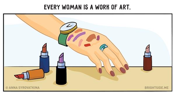 Bất kì thứ gì có màu và làm đẹp được cũng được trưng dụng lên tay như một tác phẩm trừu tượng.(Ảnh: Brightside.me)