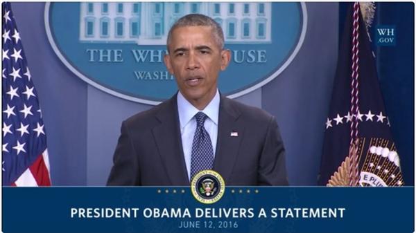 Tổng thống Barrack Obama phát biểu tại Nhà Trắng về vụ thảm sát tại hộp đêm Pulse ngày 12/6/2016. (Ảnh:whitehouse)
