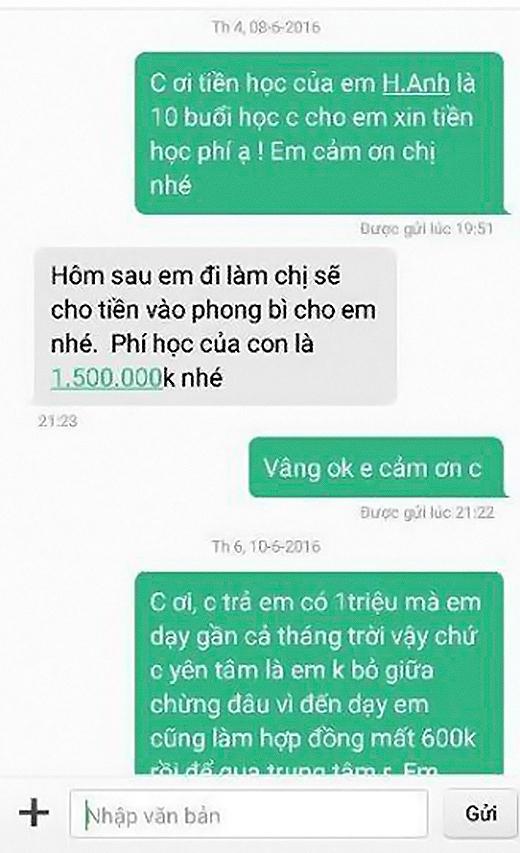 Bạn H.N.T ban đầu nhắn tin nhắc tiền học rất lịch sự và cũng được trả lời với thái độ tương tự.
