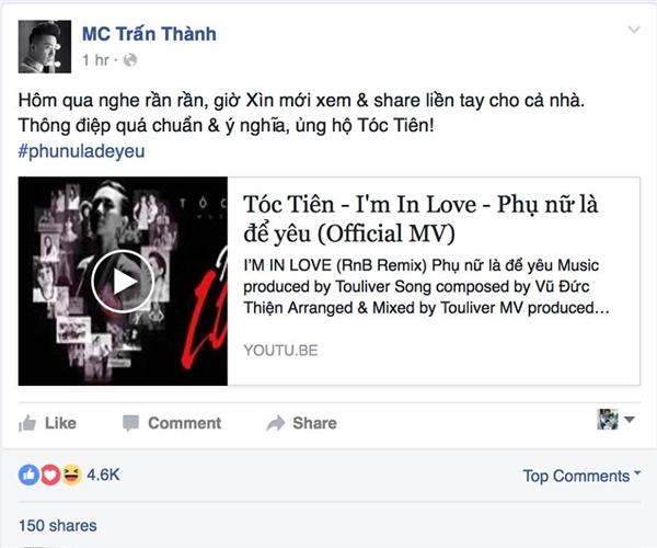 Nam MC điển trai Trấn Thành ủng hộ MV mới của Tóc Tiên. - Tin sao Viet - Tin tuc sao Viet - Scandal sao Viet - Tin tuc cua Sao - Tin cua Sao