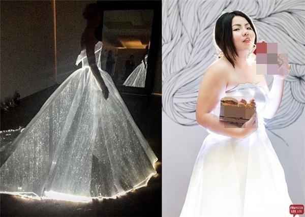 """Từ giấy và đèn led, Benjaphorn """"Sine"""" Jessadaphorn thực hiện lại bộ váy phát sáng mà Claire Daines từng diện tại Met Gala 2016 vừa qua."""