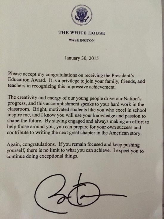 Thư chúc mừng của Tổng thống Obama gửi Đỗ Nhật Nam. (Ảnh: Internet)