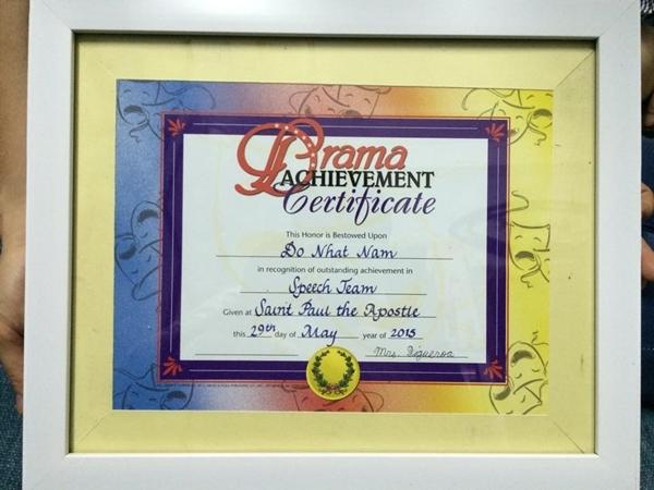 Giấy chứng nhận đạt thành tích xuất sắc trong đội diễn thuyết ở trường St. Paul The Apostle. (Ảnh: Internet)