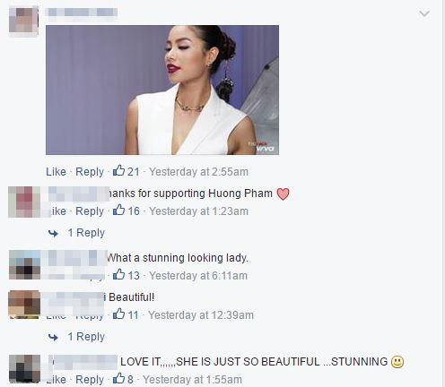 Khán giả quốc tế dành nhiều lới chúc đến vai trò mới của Phạm Hương tại The Face. Trong khi đó, người hâm mộ Việt Nam không ngớt lời khen ngợi cô.