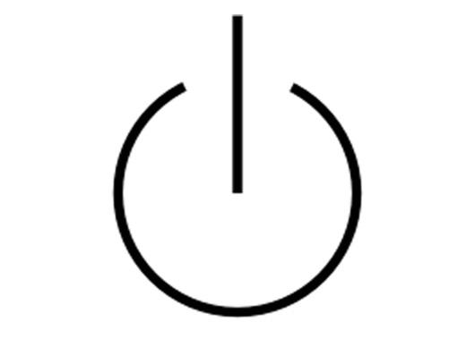 Biểu tượng chờ, năng lượng đã vào thiết bị nhưng không đủ để hoạt động, thiết bị đang ở trong trạng thái ngủ, được thể hiện bằng một biểu tượng Ilồng bên trong biểu tượng Okhông khép kín.