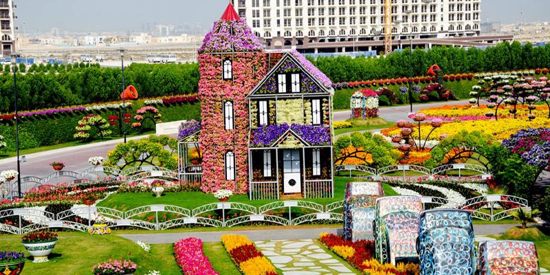 """Là mái nhà chung của… hơn 45 triệu loài hoa quý hiếm, khu vườn Miracle Garden là khu vườn rộng lớn nhất và cũng là độc nhất vô nhị trên thế giới. Ngoài hít thở không khí trong lành và thơm ngất ngây thì bạn còn có dịp tha hồ """"sống ảo"""" tại vườn hoa này nữa đấy.(Ảnh: Internet)"""