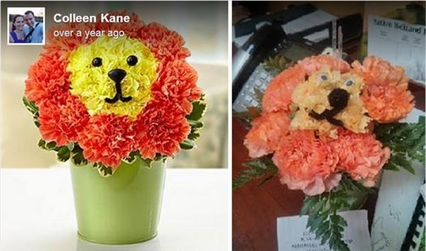 Nhìn vẻ mặt thì rõ ràng là chú sư tử làm từ hoa này không muốn bị đem bán rồi.