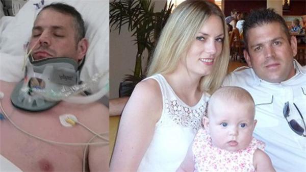 Paul sau một năm hôn mê và ảnh chụp cùng Briggs và con gái. (Ảnh: Daily Mirror)