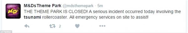 Thông báo đóng cửa tạm thời được đăng tải trên tài khoản Twitter của công viên M&D.(Ảnh: Twitter)
