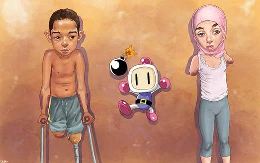 Bạn xem Bomberman (Người đặt bom) chỉ là một trò chơi vui nhộn dễ thương, nhưng ở ngoài kia đang có không biết bao nhiêu đứa trẻ bị cụt tay, cụt chân chỉ vì giẫm phải bom mìn sót lại khi đang chơi đùa đấy.