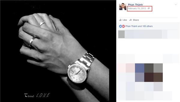"""Phan Thành từng đăng ảnh đeo nhẫn đôi, nắm chặt tay Midu trên trang cá nhân vào năm 2013 để khẳng định """"chủ quyền"""" sau khichuyện hẹn hò của cặp đôi được hé lộ với công chúng. - Tin sao Viet - Tin tuc sao Viet - Scandal sao Viet - Tin tuc cua Sao - Tin cua Sao"""