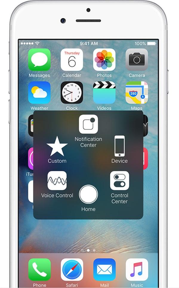 Tính năngAssistive Touch là lựa chọn thay thế hoàn hảo cho nút Home. (Ảnh: Internet)