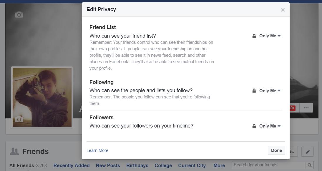 Tùy chọn riêng tư trên Facebook